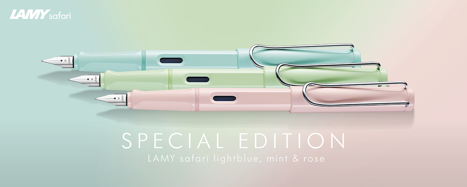 LAMY safari pastels light blue, mint, and rose